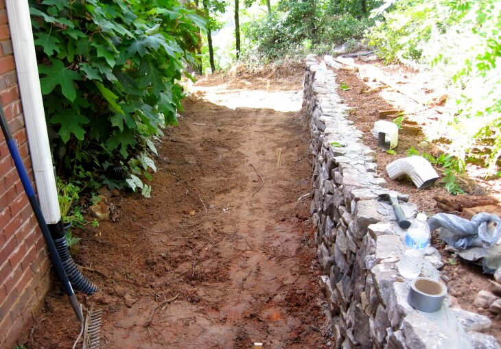 Preparing to lay stone for a walkway